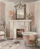 French Bath IV Gray and Blush Framed Print