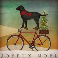 Black Lab on Bike Christmas Framed Print