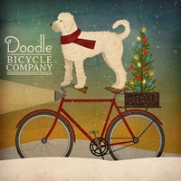 White Doodle on Bike Christmas Framed Print