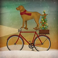 Yellow Lab on Bike Christmas Framed Print
