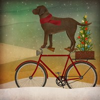 Brown Lab on Bike Christmas Fine Art Print
