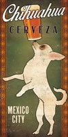 White Chihuahua on Green Fine Art Print