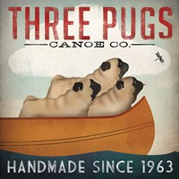 Three Pugs in a Canoe Framed Print