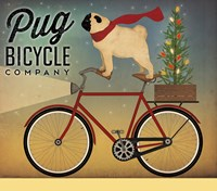 Pug on a Bike Christmas Framed Print