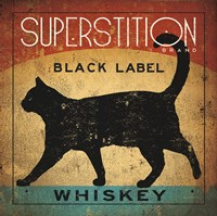Superstition Black Label Whiskey Cat Framed Print