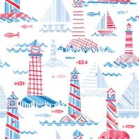 Coastal Americana Pattern VIII Fine Art Print
