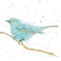 Gilded Bird I Teal Fine Art Print