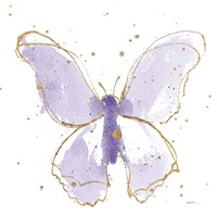 Gilded Butterflies II Lavender Fine Art Print