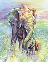 Mother & Baby Elephant Rainbow Colors Fine Art Print