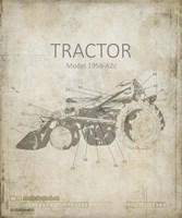 Industrail Farm Tractor Blue Print 1 Fine Art Print