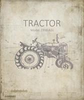 Industrail Farm Tractor Blue Print 2 Fine Art Print