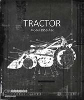 Industrail Farm Tractor Blue Print BW3 Fine Art Print