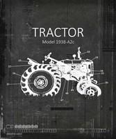 Industrail Farm Tractor Blue Print BW4 Fine Art Print