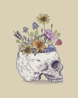 Half Skull Flowers Fine Art Print
