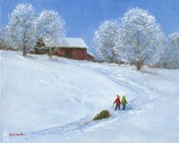 Barn and Children with Sled Fine Art Print