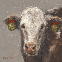 Patty the Brown Christmas Cow Fine Art Print