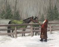 Santa with Horses Fine Art Print