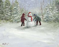 Snowman and Children Fine Art Print