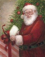 Santa with a Gift Fine Art Print