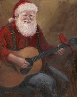 Santa with Guitar Fine Art Print