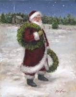Santa with Two Wreaths Fine Art Print