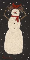 Short Snowman with Cardinal Fine Art Print