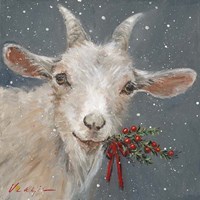 Goat with Holly Fine Art Print