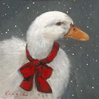 Goose Red Xmas Bow Fine Art Print