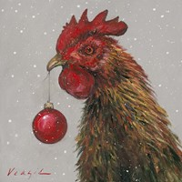 Rooster with Red Xmas Ball Fine Art Print