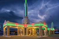 Rt 66 Shamrock Texas Conoco Lightning Fine Art Print