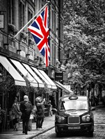 London Taxi and English Flag Fine Art Print