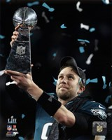 Nick Foles with the Vince Lombardi Trophy Super Bowl LII Framed Print