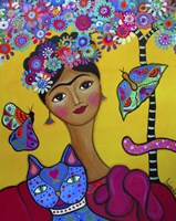 Brigit's Frida And Her Cat Fine Art Print