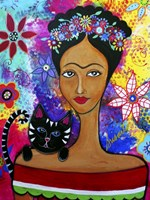 Frida And Her Cat Fine Art Print