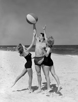 1950s Teens Jumping For Beach Ball Fine Art Print