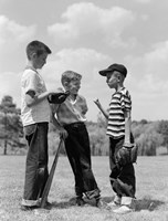 1950s Boys Baseball Holding Bat Fine Art Print