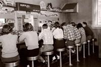 1950s Rear View Of Teenage Boys & Girls? Fine Art Print