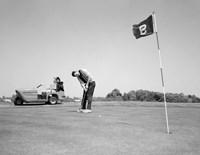 1960s Man Playing Golf Putting Fine Art Print