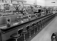 1950s 1960s Interior Of Lunch Counter Fine Art Print