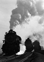 1930s 1940s Head-On View Of Three Steam Engines Fine Art Print