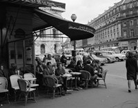 1960s Patrons At Cafe De La Paix Sidewalk Cafe In Paris? Fine Art Print