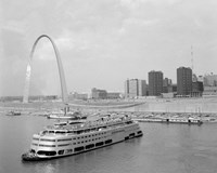 1960s St. Louis Missouri Gateway Arch Skyline Framed Print