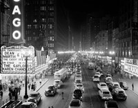 1950s 1953 Night Scene Of Chicago State Street Framed Print