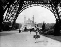 1920s Woman Walking Under The Eiffel Tower Fine Art Print