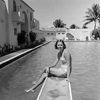 1930s Woman On Pool Diving Board Fine Art Print