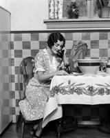 1920s Woman Sitting At Kitchen Table Fine Art Print