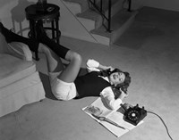 1960s Teenage Girl Lying On Floor Fine Art Print