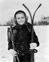 1930s Little Girl Standing Holding Skis Fine Art Print