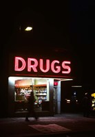 1980s Drug Store At Night Pink Neon Sign Fine Art Print
