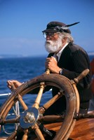 1990S Bearded Man At Wheel Of Ship Fine Art Print